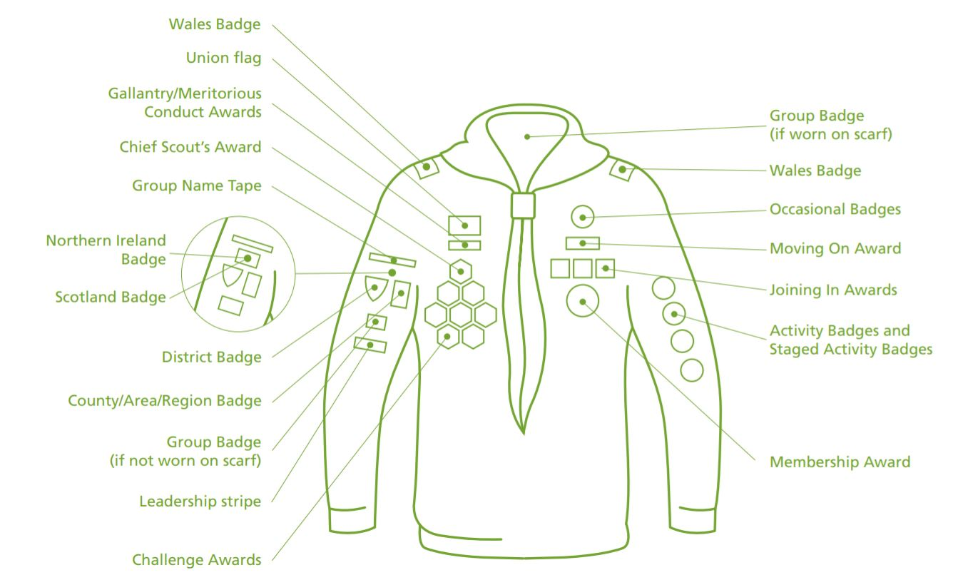 Where the cub badges go on the uniform.